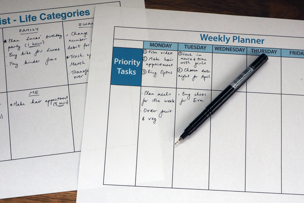 Plan for the week ahead by setting goals and priorities for each day - The Organised You