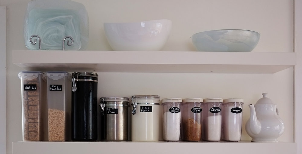 Open shelving increases storage in a small kitchen {The Organised You}