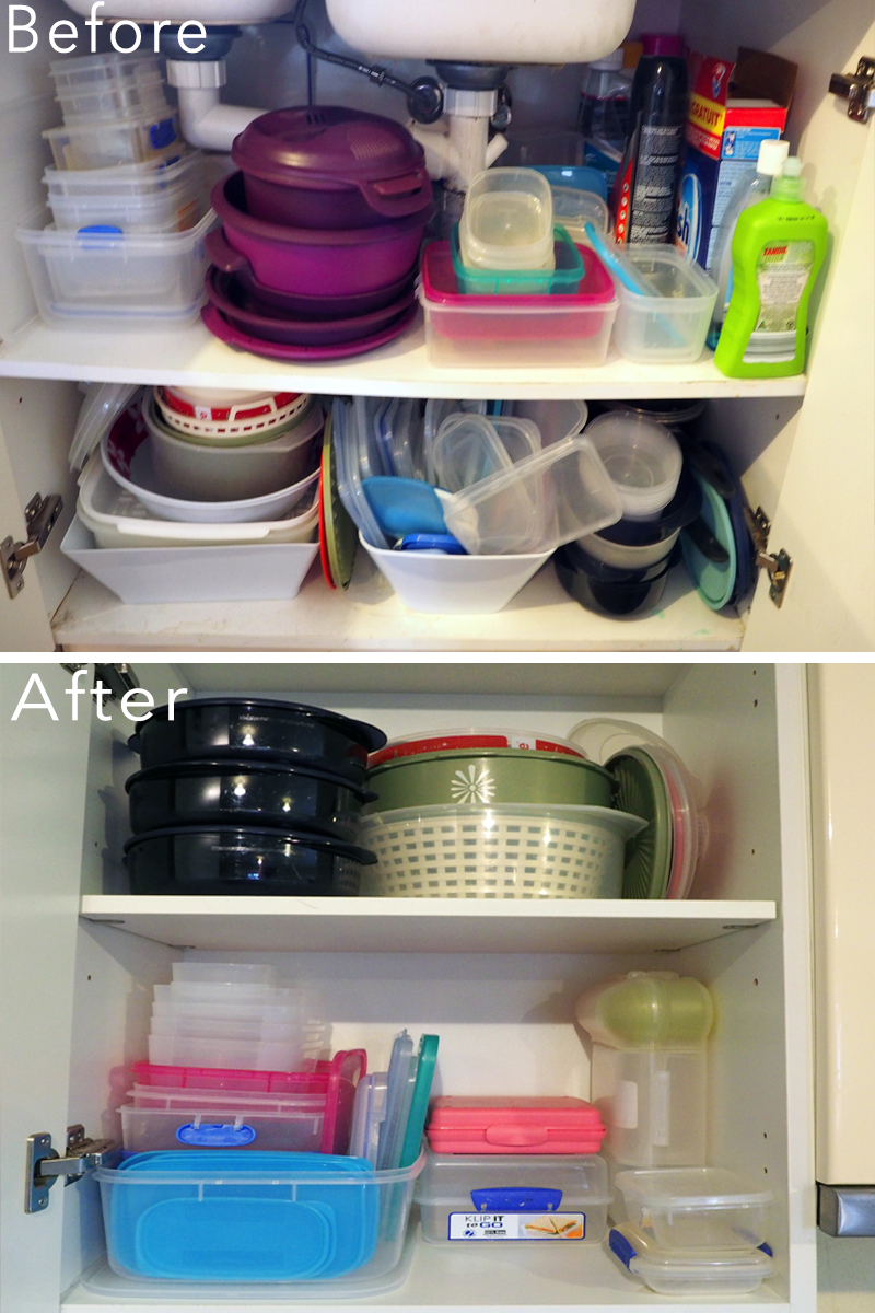 Kitchen makeover - organising the plastics collection {The Organised You}