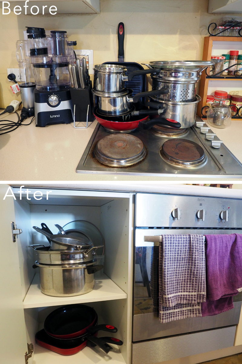 Kitchen makeover - finding a spot for the pots and pans in the cooking zone {The Organised You}
