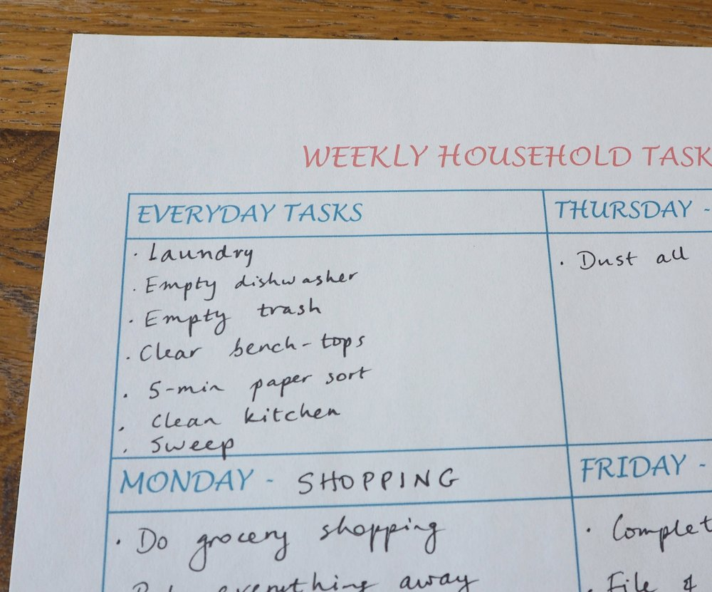 Make a list of your daily tasks so you know exactly what you need to get done each day