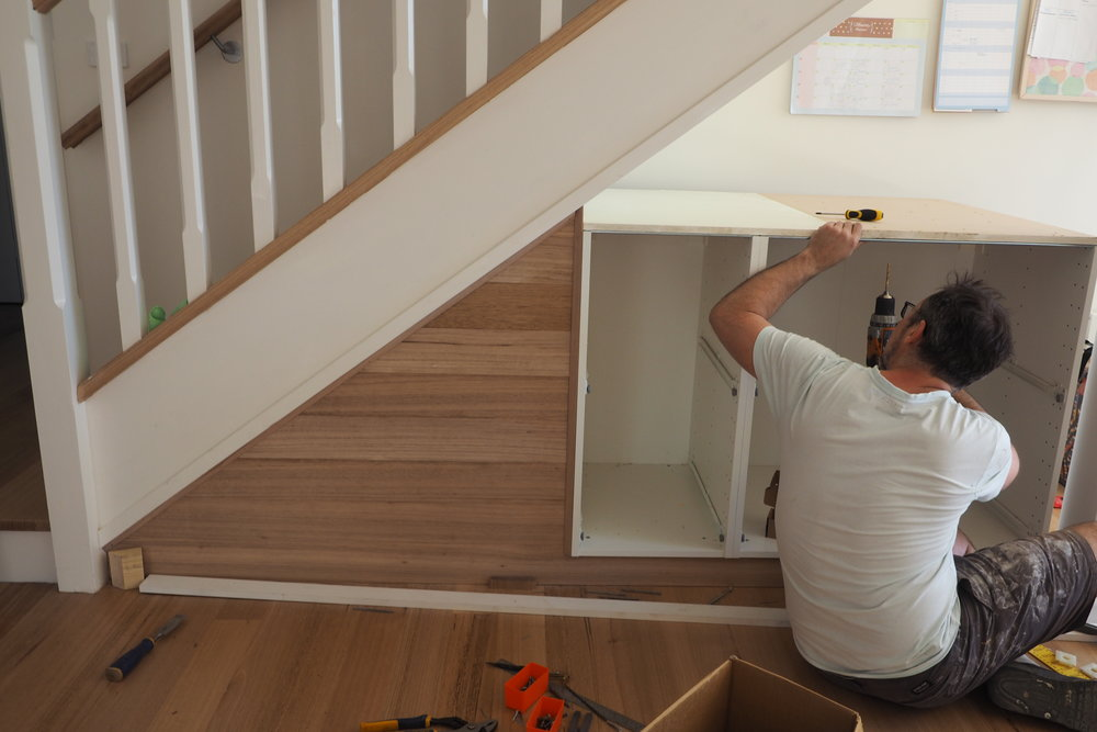 Creating a new family command centre under the stairs {The Organised You}