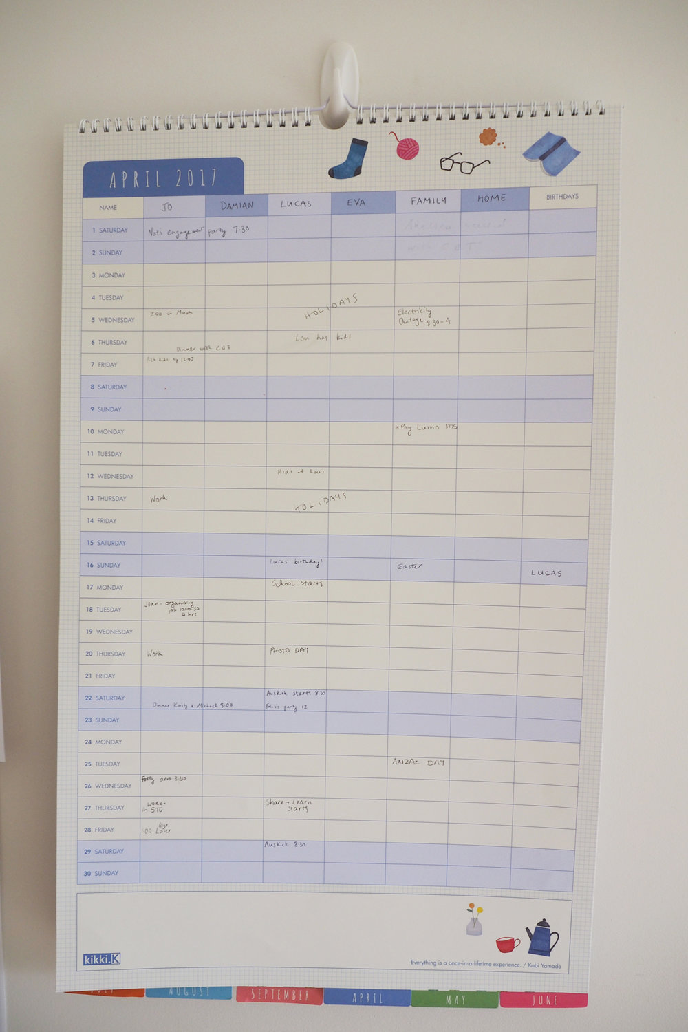 Use a family calendar to track everyone's schedule and upcoming events and reminders {The Organised You}