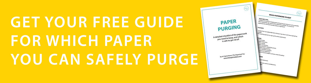 A free paper purging checklist from The Organised You