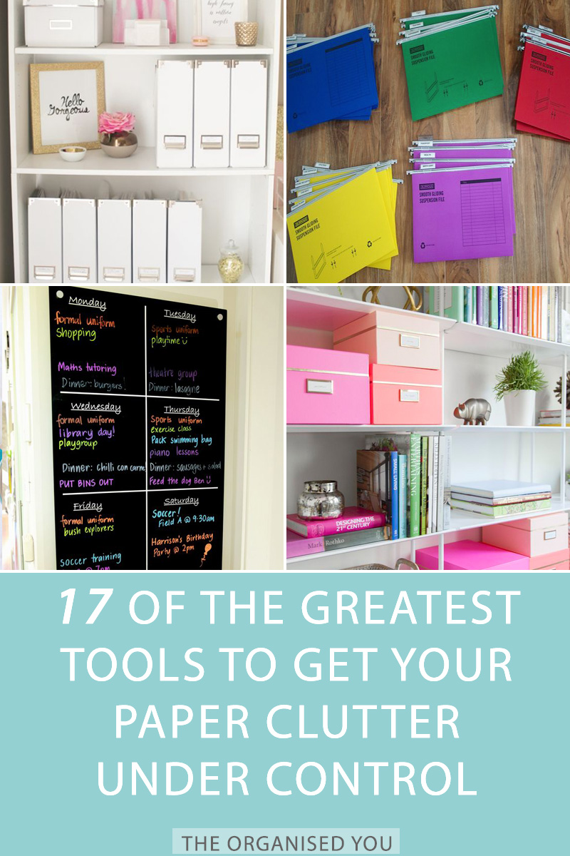 17 of the Greatest Tools to Get Your Paper Clutter Under Control - if you're ready to get the paper clutter piles under control in your home, you're going to need some handy tools to help you! Click through to read the list of the top 17, and get your free guide on how to deal most efffectively with those paper piles!
