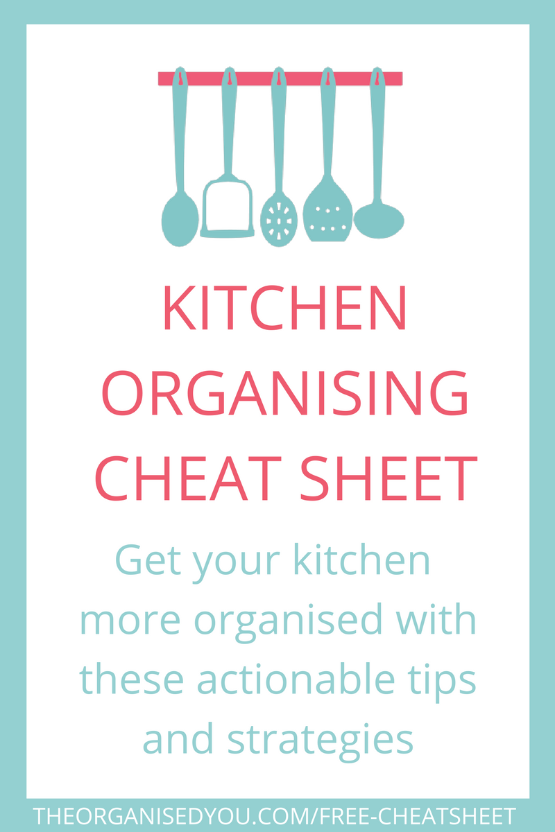 Get the FREE kitchen organising cheat sheet with over 30 actionable strategies for getting your kitchen organised