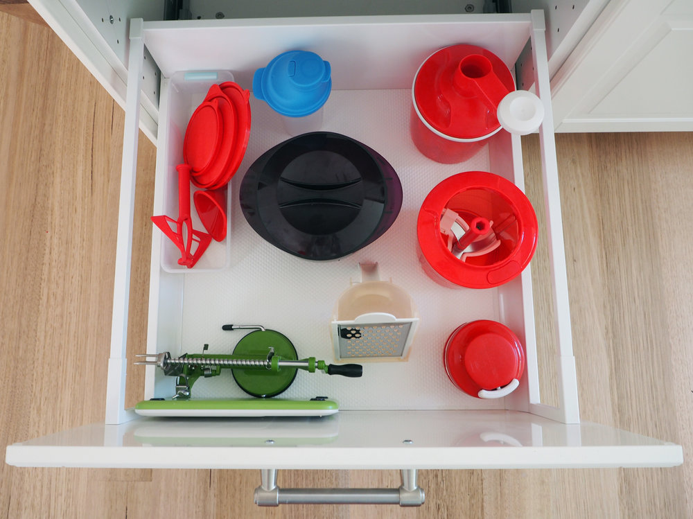Organise extra attachments and loose pieces by using plastic baskets or tubs