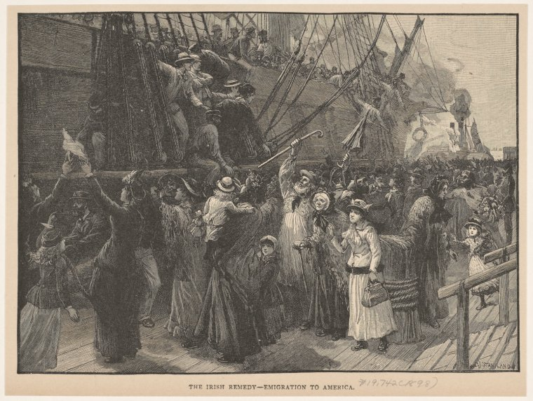 "Art and Picture Collection, The New York Public Library. ""The Irish Remedy -- Emigration To America.""   The New York Public Library Digital Collections  . 1898. http://digitalcollections.nypl.org/items/510d47e1-37da-a3d9-e040-e00a18064a99"