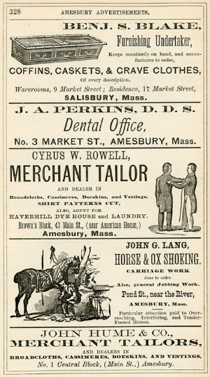 Advertisements in Amesbury's 1875 city directory. Undertakers, dentists, tailors and horse shoers of the day used the directory to reach potential customers.