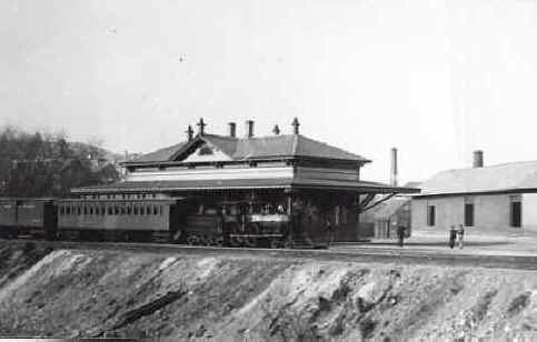 Photograph of train station in the 1880s, when it was close to the banks of Back River.