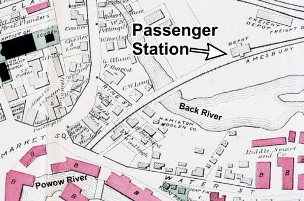 1884 Walker map shows the new passenger station (depot) located far east of Water Street.