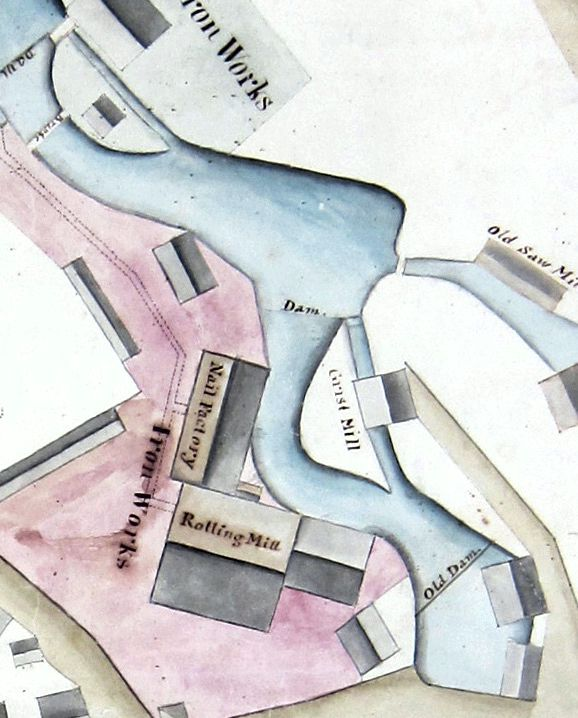Detail from 1825 map of the Perkins Nail factory. (Peabody Essex Museum)