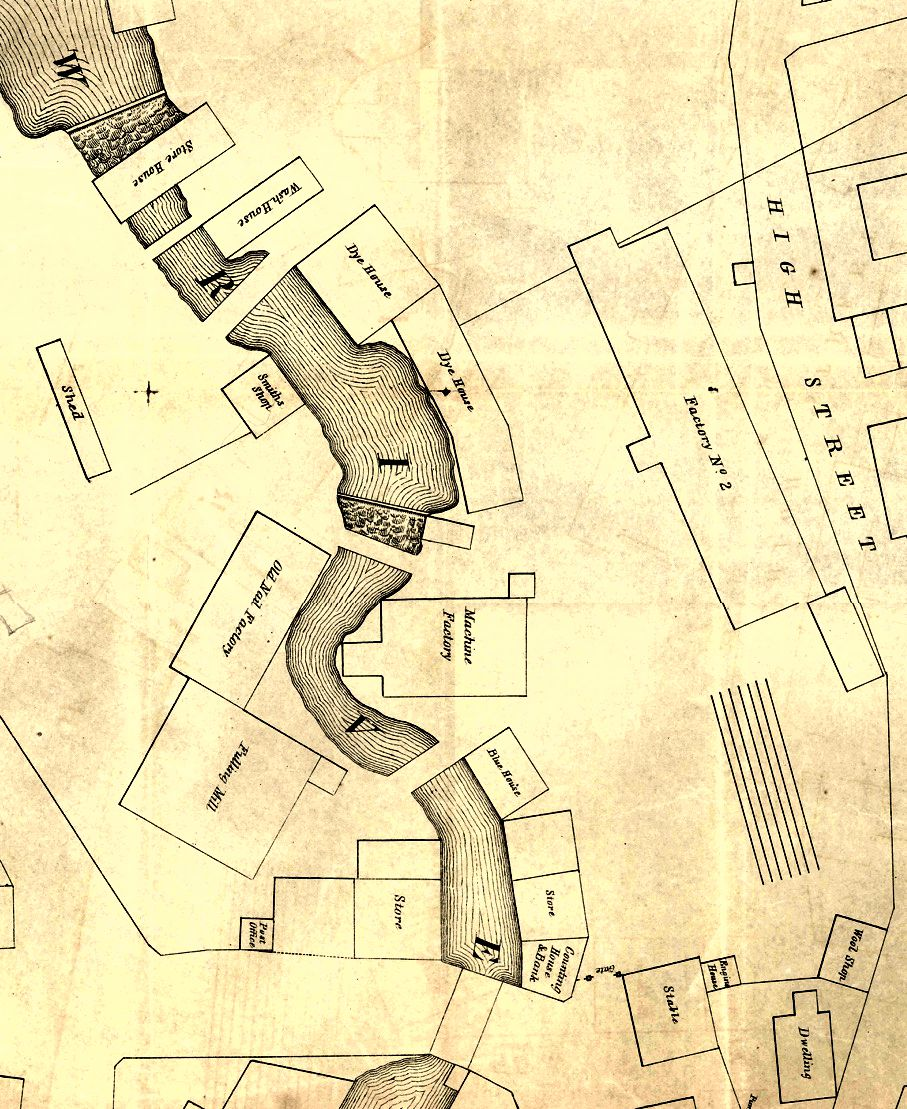 "Detail of 1849 shows the ""Old Nail Factory,"" Factory No. 2 and other structures that were in the upper millyard. Main Street and Market Square are at the bottom of the map. (Private collection)"