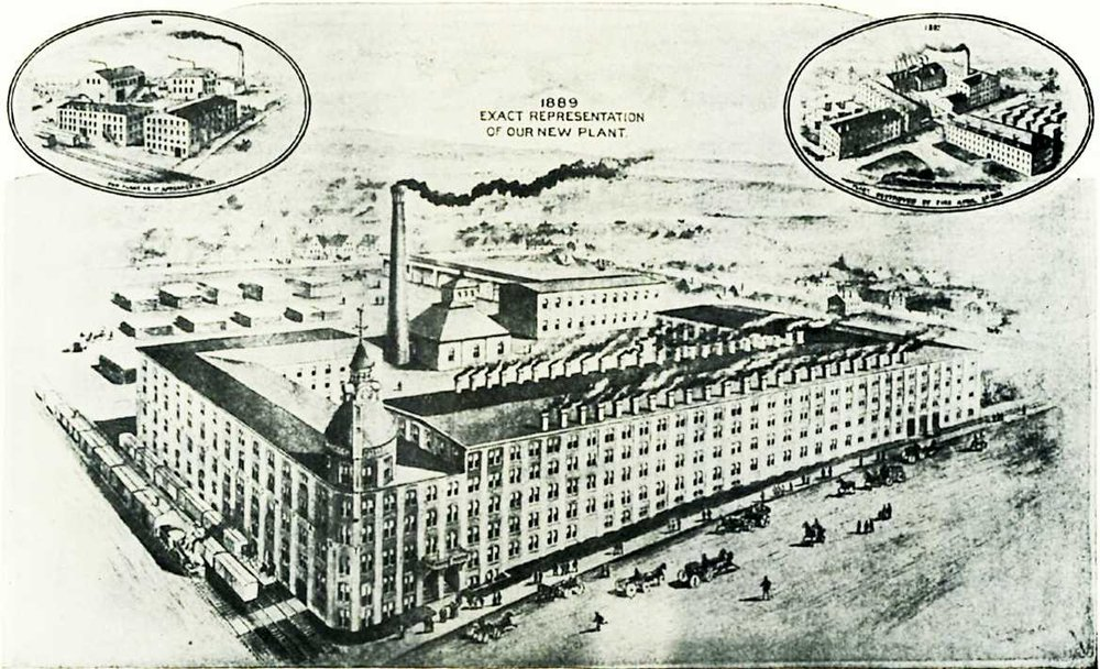 Artist's rendering of the future Babcock Building drawn in 1889, before or during construction. Chestnut Street is in the foreground, busy with people, horses and carriages.