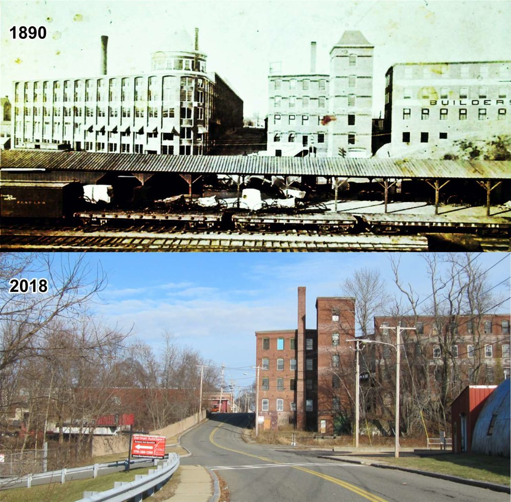 Babcock's factory building (top left, on the west side of Chestnut St.) once towered over the area now called the Lower Millyard. It opened for business in 1889 and survived until 1942 when it was demolished after falling into disrepair.