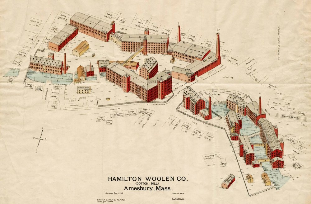 This 1910 view of the Hamilton Woolen Company shows the Amesbury millyard at the peak of development. This is called an isometric view and was published by the Associated Mutual Insurance Company of Boston. This map is in a private collection in Amesbury.