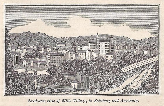 John Warner Barber's engraving showing Amesbury in 1839. Mill 2, today's Amesbury Industrial Supply, is the tall building to right of center.