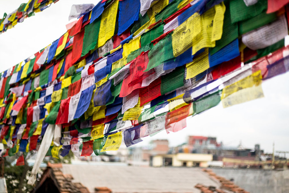 Prayer flags on the roof.