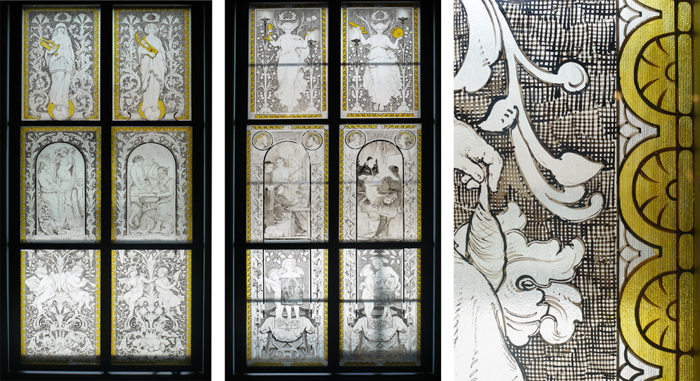 Two of four staircase windows by William Bell Scott in the V&A made from 1867-9