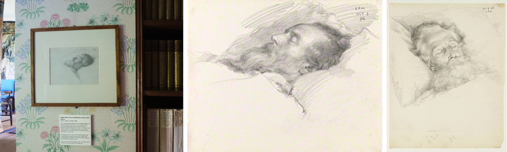 Three drawings of WM on his deathbed by CFM, dated 3rd, 3rd & 4th October 1896.