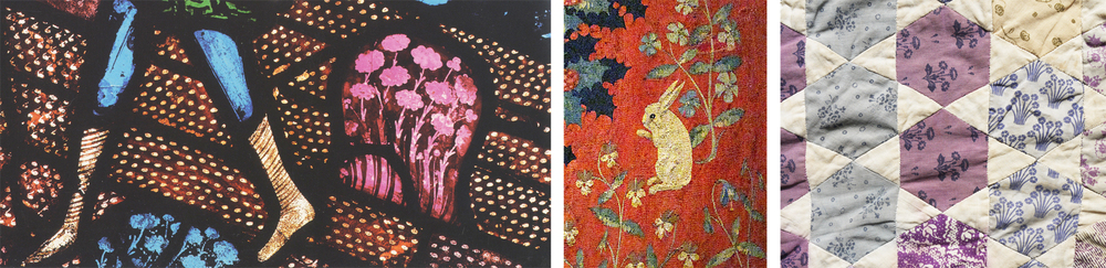 Details from: The Sower, Canterbury Cathedral, C12th: Lady & The Unicorn Tapestry, Flanders C16th: my Laura Ashley patchwork quilt, 1975.