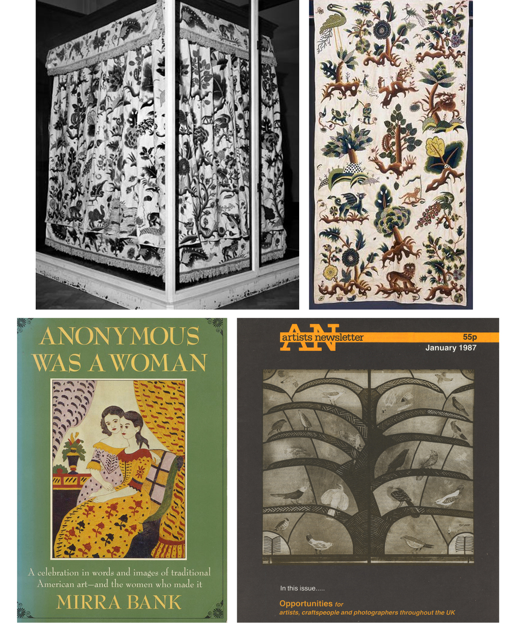 Above: Abigail Pett's curtains in the V&A. Below left: A favourite book. Below right: My first public commission.