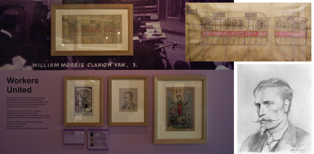 People's History Museum display, including illustrations by Walter Crane and his self portrait.