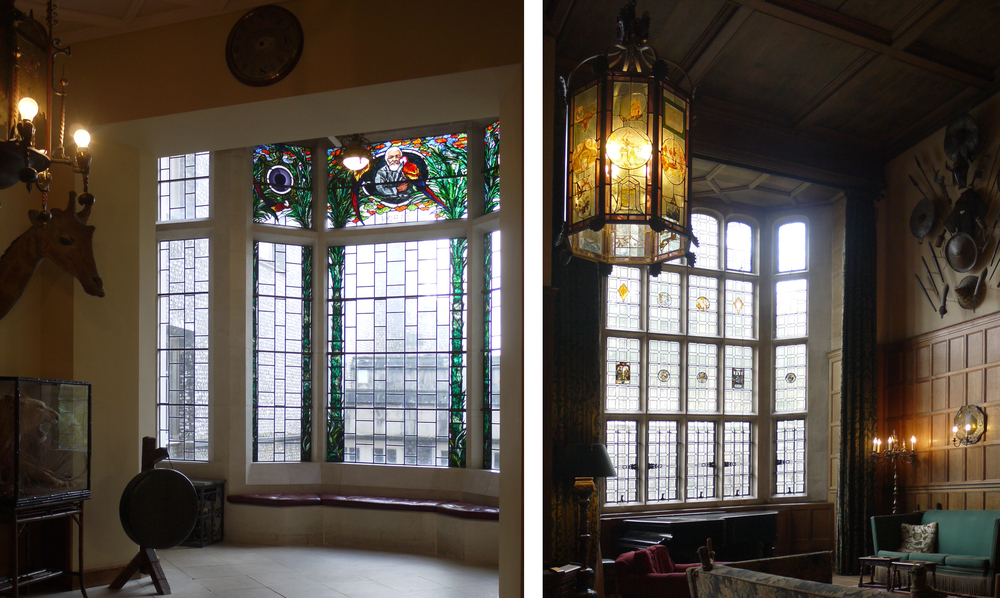 Twentieth Century glass and stained glass lantern in The Oak Hall, West Dean House.