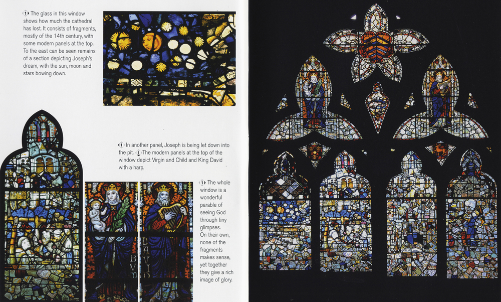 Pages from the Hereford Cathedral stained glass brochure (click to enlarge)
