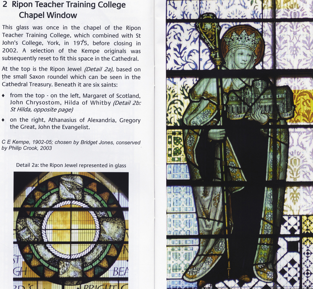 Pages from the Ripon Cathedral stained glass brochure (click to enlarge)