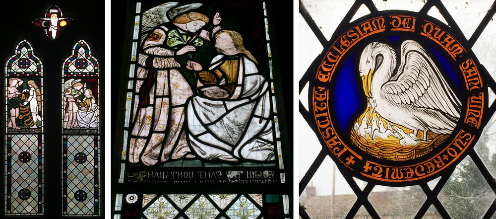 Holy Rood, Rodbourne. Left: The Fall by FMB. Above: Annunciation by DGR.  Pelican roundel by Philip Webb. Click to enlarge.