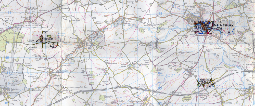 Map of North Wiltshire showing the location of the three churches - it's about seven miles between Sopworth and the other two.