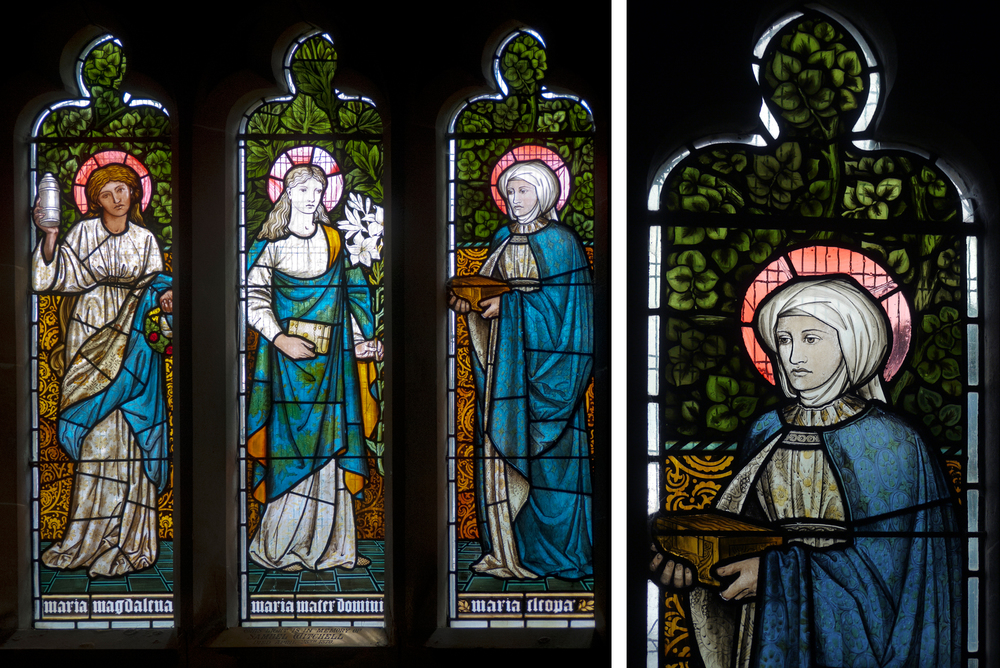 Window in St. Mary's Church, Sopworth and detail of the right hand panel. EBJ & WM 1873. Click to enlarge.