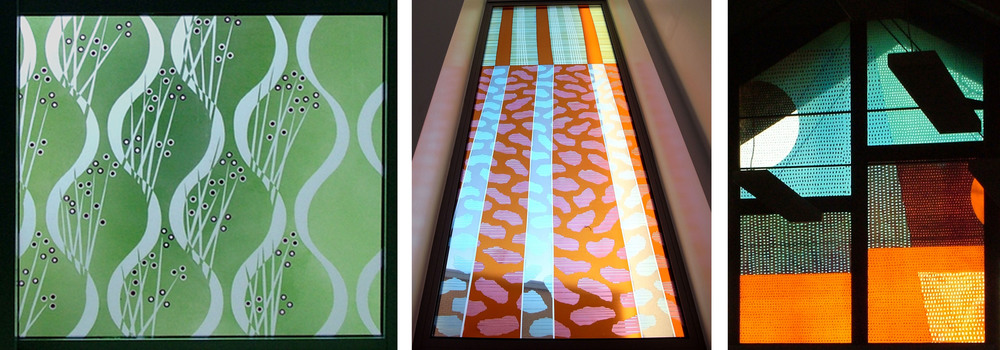 More recent examples of the patterns I used in those early drawings: Left to right: The vertical waves at Langley Green Hospital 2008: The stripy sky at The State Hospital 2009: The dot pattern at Longparish School 2005. Click on photos to enlarge.