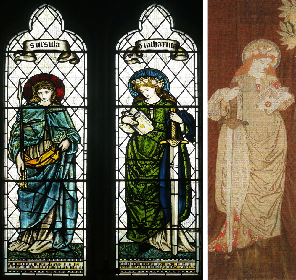 Saints Ursula & Catherine from Welton Church, EBJ & WM                                                       The St. Catherine at Kelmscott Manor