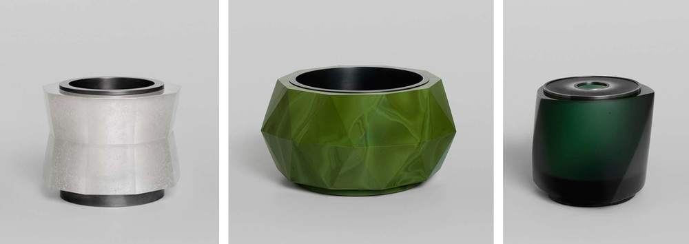 Clear Frit Vessel (9 sides) 2014                  Green Triangles (10 sides) 2014                                Green Twist (3 sides) 2011