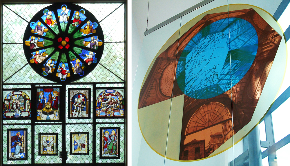 Wall of medieval glass in Ariana Museum                             Hanging panel, Dewsbury Health Centre, 2006