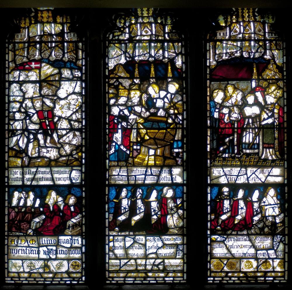 Window 3 South Aisle: Saint Helen above, Asshetons below.