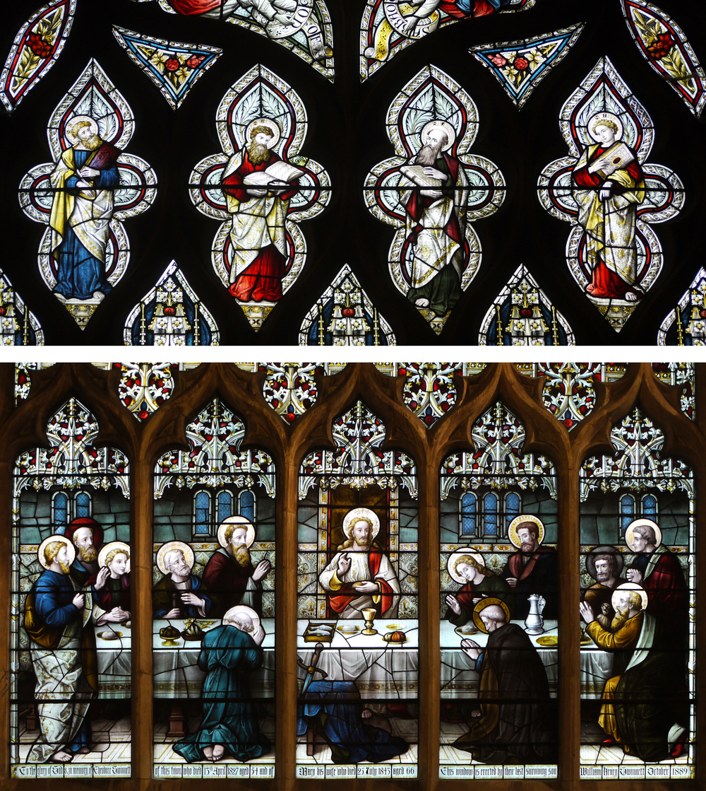 Top : Matthew, Mark, Luke & John from The North Transept Window.  Below : The Last Supper Window, Lavers, Barraud & Westlake 1880