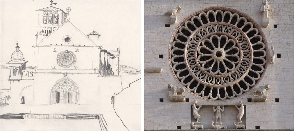 Early morning drawing of the Basilica in Assisi                   Cathedral of San Rufino, Assisi