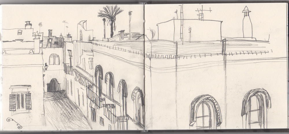 sketchbook page, view from drawing station