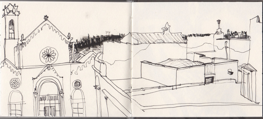 sketchbook page, standing up to draw the enclosed lump on the roof of the building opposite