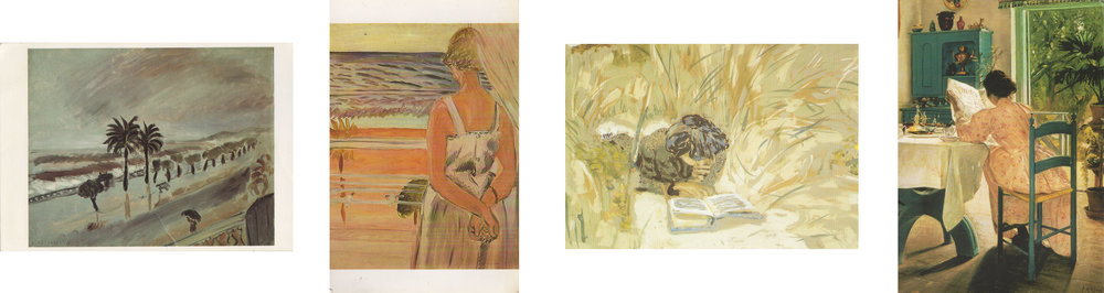 Storm in Nice - Matisse   At the Window - Matisse   Girl reading in the reeds - Vuillard   At Breakfast - Laurits A Ring