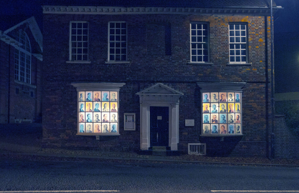 The Mount House Gallery at night