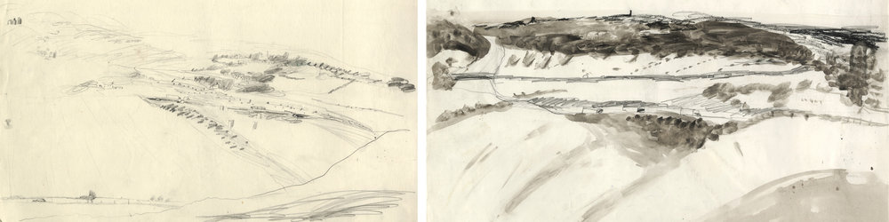 Drawings from a field in Wanborough 1993, the two views were used in the glass panels above.