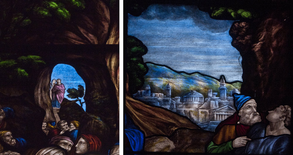 "Details from ""Lazarus Come Forth"" one of four windows by Evans donated by Reverend Richard Scott 1842"