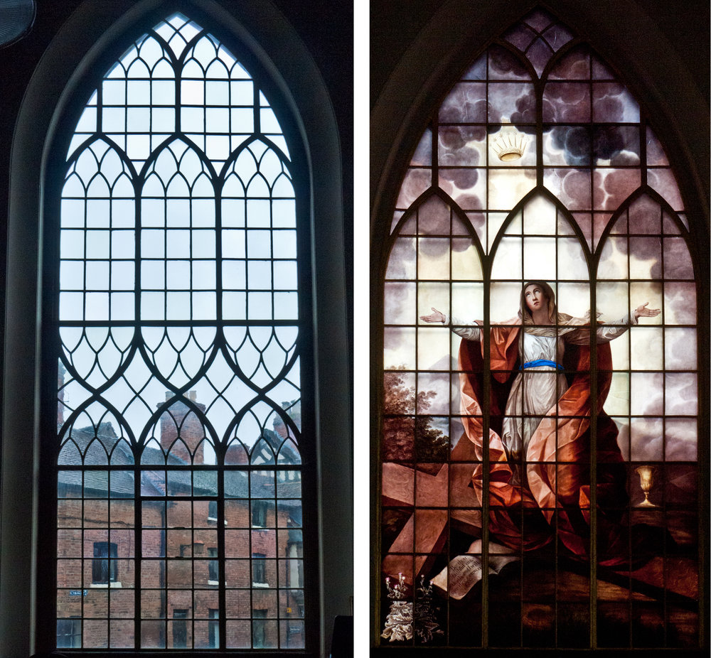 St. Alkmund's: clear leaded glass window & The Francis Eginton window