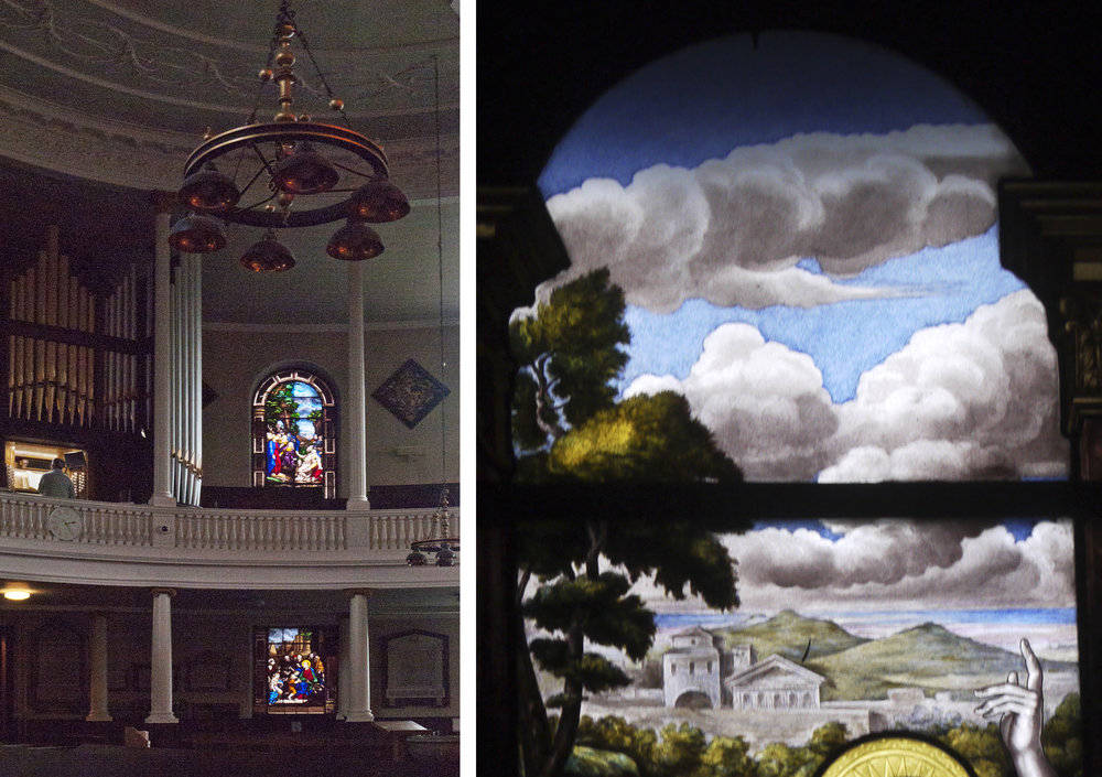 Interior of St. Chad's showing two of the David Evans window and a landscape with cloud detail from another