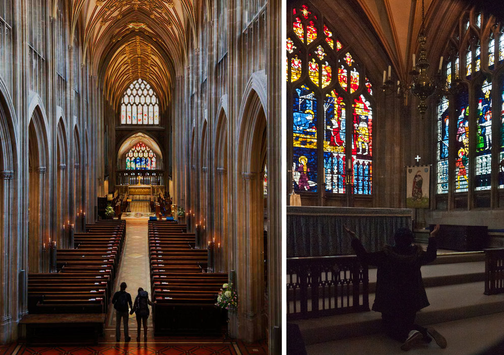 On entering St. Mary Redcliffe, Bristol                       Bursting into prayer inside The Lady Chapel