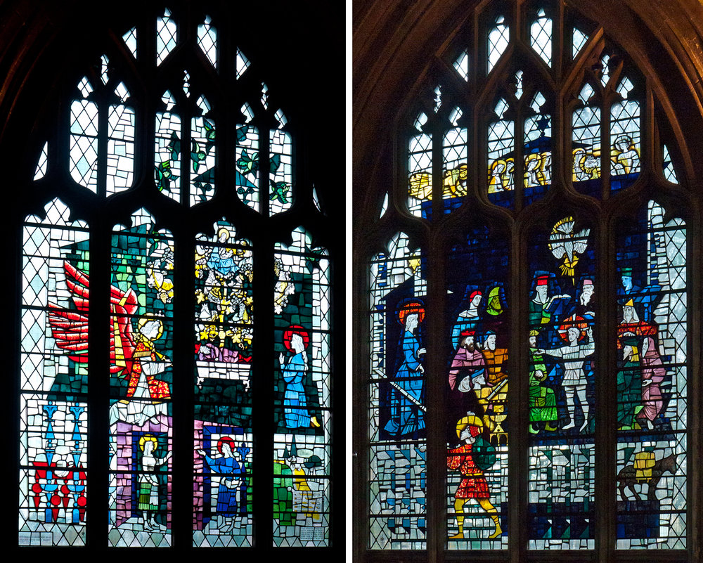 Windows 2 & 4 (either side of the nativity window)